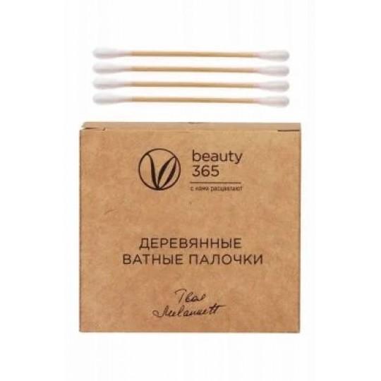 Ватные палочки на деревянной основе Beauty 365, 100шт